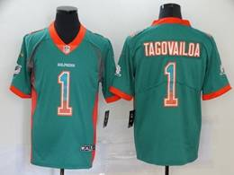 Mens Miami Dolphins #1 Tua Tagovailoa Green Drift Fashion Vapor Untouchable Limited Jersey
