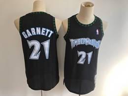 Mens Nba Minnesota Timberwolves #21 Kevin Garnett Black Mitchell&ness Hardwood Classics Mesh Jersey