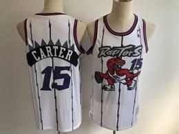 Mens Nba Toronto Raptors #15 Vince Carter White Stripe Mitchell&ness Hardwood Classics Mesh Jersey