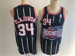 Mens Nba Houston Rockets #34 Olajuwon Blue White Stripe Mitchell&ness Hardwood Classics Mesh Jersesy