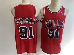 Mens Nba Chicago Bulls #91 Dennis Rodman Red Mitchell&ness Hardwood Classics Mesh Jersey