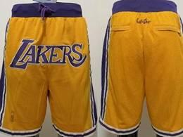 Mens Nba Los Angeles Lakers 2020 Yellow Just Do Pocket Shorts