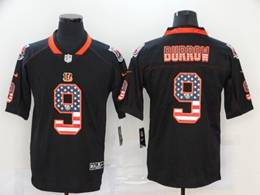 Mens Nfl Cincinnati Bengals #9 Joe Burrow Black Usa Flag Vapor Untouchable Limited Jersey