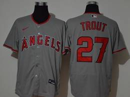 Mens Mlb Los Angeles Angels #27 Mike Trout Gray Flex Base Nike Jersey
