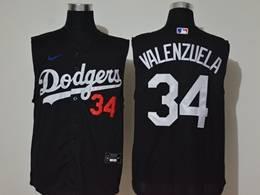 Mens Mlb Los Angeles Dodgers #34 Fernando Valenzuela Black Refreshing Sleeveless Fan Cool Base Nike Jersey