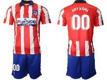 Mens 20-21 Soccer Atletico De Madrid Club ( Custom Made ) Red And White Stripe Home Short Sleeve Suit Jersey