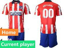 Mens 20-21 Soccer Atletico De Madrid Club Current Player Red And White Stripe Home Short Sleeve Suit Jersey