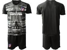 Mens 20-21 Soccer Atletico De Madrid Club ( Custom Made ) Black Goalkeeper Short Sleeve Suit Jersey
