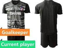 Mens 20-21 Soccer Atletico De Madrid Club Current Player Black Goalkeeper Short Sleeve Suit Jersey