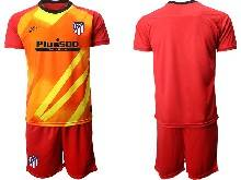Mens 20-21 Soccer Atletico De Madrid Club ( Custom Made ) Red Goalkeeper Short Sleeve Suit Jersey