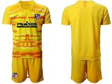 Mens 20-21 Soccer Atletico De Madrid Club ( Custom Made ) Yellow Goalkeeper Short Sleeve Suit Jersey