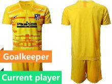 Mens 20-21 Soccer Atletico De Madrid Club Current Player Yellow Goalkeeper Short Sleeve Suit Jersey