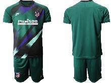 Mens 20-21 Soccer Atletico De Madrid Club ( Custom Made ) Dark Green Goalkeeper Short Sleeve Suit Jersey