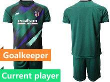 Mens 20-21 Soccer Atletico De Madrid Club Current Player Dark Green Goalkeeper Short Sleeve Suit Jersey
