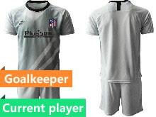 Mens 20-21 Soccer Atletico De Madrid Club Current Player Gray Goalkeeper Short Sleeve Suit Jersey