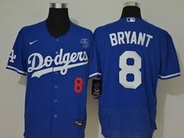 Mens Mlb Los Angeles Dodgers #8 Bryant Blue Flex Base Nike Jersey