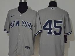 Mens Mlb New York Yankees #45 Gerrit Cole Gray Flex Base Nike Jersey No Name