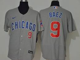 Mens Mlb Chicago Cubs #9 Javier Baez Gray Flex Base Nike Jersey