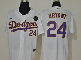 Mens Mlb Los Angeles Dodgers #24 Bryant White (purple Number) Cool Base Nike Jersey