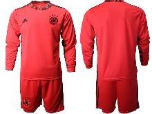 Mens Soccer Germany Ntaional Team ( Custom Made ) Red 2021 European Cup Goalkeeper Long Sleeve Suit Jersey