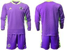 Mens Soccer Germany Ntaional Team ( Custom Made ) Purple 2021 European Cup Goalkeeper Long Sleeve Suit Jersey