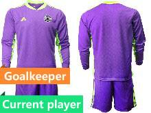 Mens Soccer Germany Ntaional Team Current Player Purple 2021 European Cup Goalkeeper Long Sleeve Suit Jersey