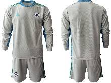 Mens Soccer Germany Ntaional Team ( Custom Made ) Gray 2021 European Cup Goalkeeper Long Sleeve Suit Jersey