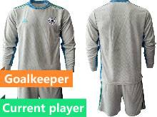 Mens Soccer Germany Ntaional Team Current Player Gray 2021 European Cup Goalkeeper Long Sleeve Suit Jersey