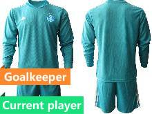 Mens Soccer Germany Ntaional Team Current Player Blue 2021 European Cup Goalkeeper Long Sleeve Suit Jersey