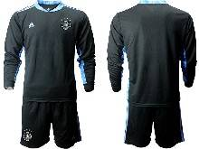 Mens Soccer Germany Ntaional Team ( Custom Made ) Black 2021 European Cup Goalkeeper Long Sleeve Suit Jersey