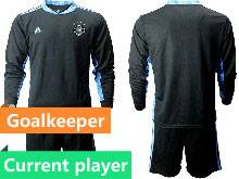 Mens Soccer Germany Ntaional Team Current Player Black 2021 European Cup Goalkeeper Long Sleeve Suit Jersey