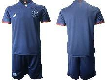 Mens Soccer Germany Ntaional Team ( Custom Made ) Navy 2021 European Cup Away Short Sleeve Suit Jersey