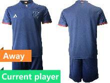 Mens Soccer Germany Ntaional Team Current Player Navy 2021 European Cup Away Short Sleeve Suit Jersey