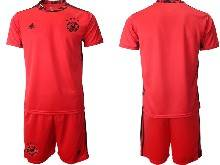 Mens Soccer Germany Ntaional Team ( Custom Made ) Red 2021 European Cup Goalkeeper Short Sleeve Suit Jersey