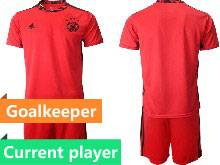 Mens Soccer Germany Ntaional Team Current Player Red 2021 European Cup Goalkeeper Short Sleeve Suit Jersey