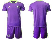 Mens Soccer Germany Ntaional Team ( Custom Made ) Purple 2021 European Cup Goalkeeper Short Sleeve Suit Jersey