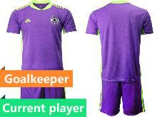 Mens Soccer Germany Ntaional Team Current Player Purple 2021 European Cup Goalkeeper Short Sleeve Suit Jersey