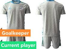 Mens Soccer Germany Ntaional Team Current Player Gray 2021 European Cup Goalkeeper Short Sleeve Suit Jersey