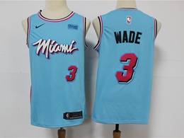 Mens Nba Miami Heat #3 Dwyane Wade Light Blue 2020 City Edition Nike Swingman Jersey