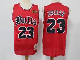 Mens Nba Chicago Bulls #23 Michael Jordan Red Old English Faded Limited Edition Jersey
