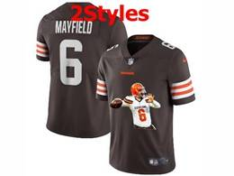 Mens Nfl Cleveland Browns #6 Baker Mayfield Brown Portrait Printing Vapor Untouchable Limited Jersey 2 Styles