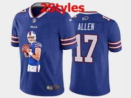 Mens Nfl Buffalo Bills #17 Josh Allen Blue Portrait Printing Vapor Untouchable Limited Jersey 2 Styles