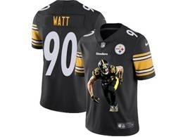 Mens Nfl Pittsburgh Steelers #90 T. J. Watt Black Portrait Printing Vapor Untouchable Limited Jersey