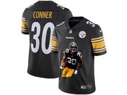Mens Nfl Pittsburgh Steelers #30 James Conner Black Portrait Printing Vapor Untouchable Limited Jersey