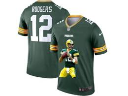 Mens Nfl Green Bay Packers #12 Aaron Rodgers Green Portrait Printing Vapor Untouchable Limited Jersey