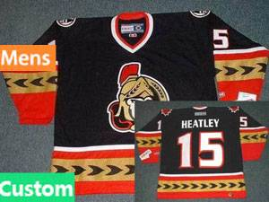 Nhl Ottawa Senators Custom Made Black 2007 Ccm Throwback Vintage Hockey Jersey
