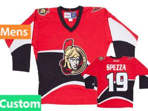 Nhl Ottawa Senators Custom Made Red Ccm Throwback Vintage Hockey Jersey