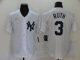 Mens Mlb New York Yankees #3 Babe Ruth White Stripe Throwbacks Cool Base Nike Jersey