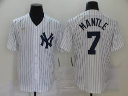 Mens Mlb New York Yankees #7 Mickey Mantle White Stripe Throwbacks Cool Base Nike Jersey