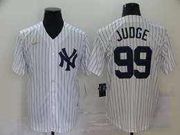 Mens Mlb New York Yankees #99 Aaron Judge White Stripe Throwbacks Cool Base Nike Jersey